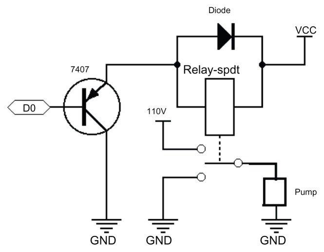 Pump control circuit. Abbreviations: GND, ground; VCC
