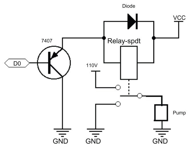 Pump control circuit. Abbreviations: GND, ground; VCC