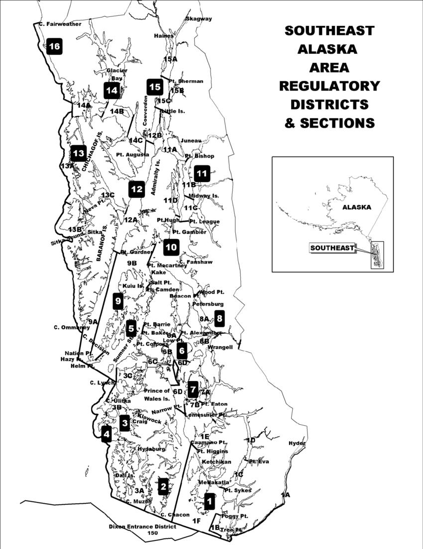 1–Shrimp pot fishery management units in Registration Area