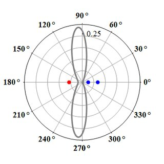 Polar plot of the steady-state correlation function g (2