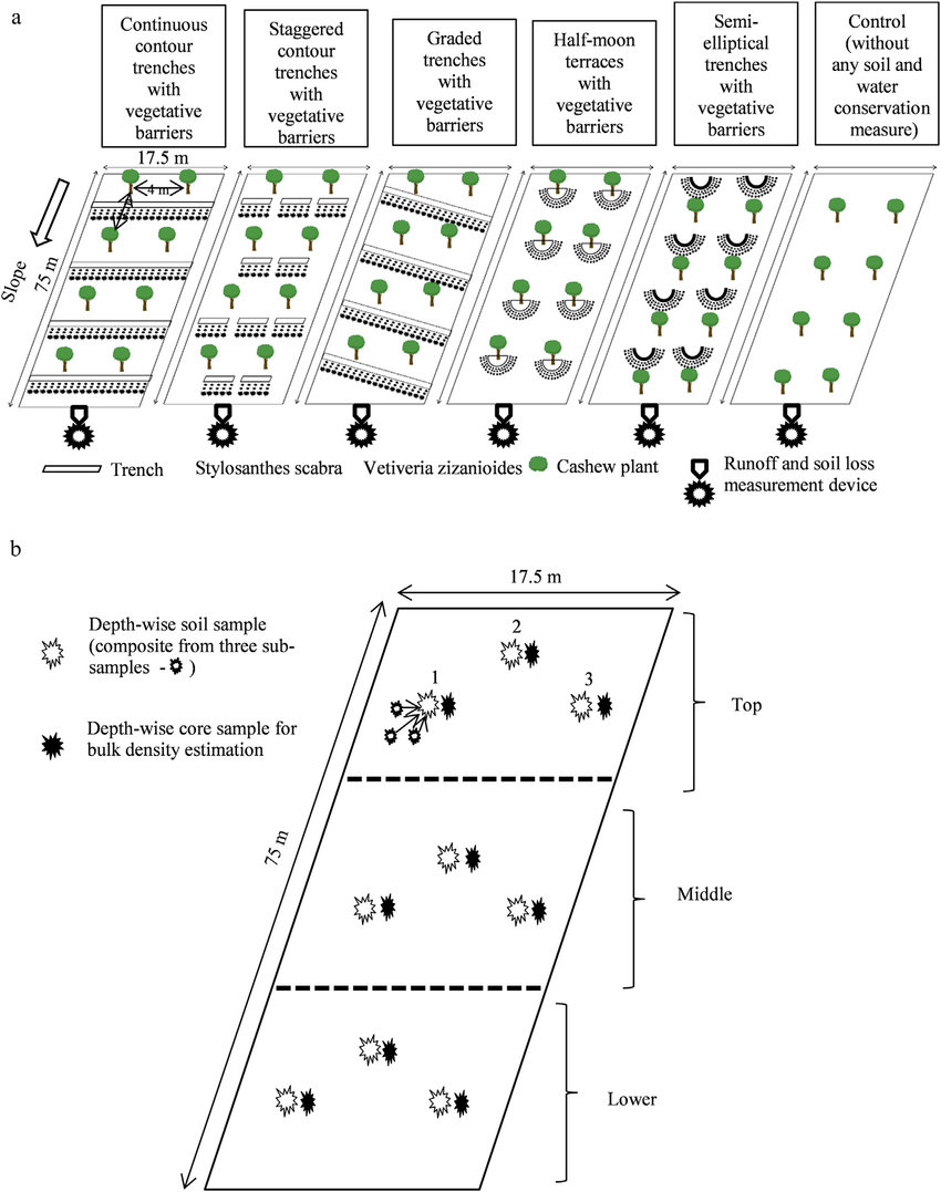 Schematics of the (a) soil and water conservation measures