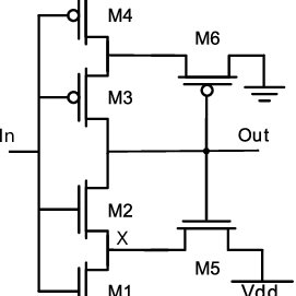 Example circuit's output and input to the last stage for