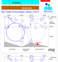the bicycle carbon cycle model top main geometry middle and bottom geometry an circulation fluxes in sv 10 6 m 3 s 1 of the oceanic module  [ 706 x 1554 Pixel ]