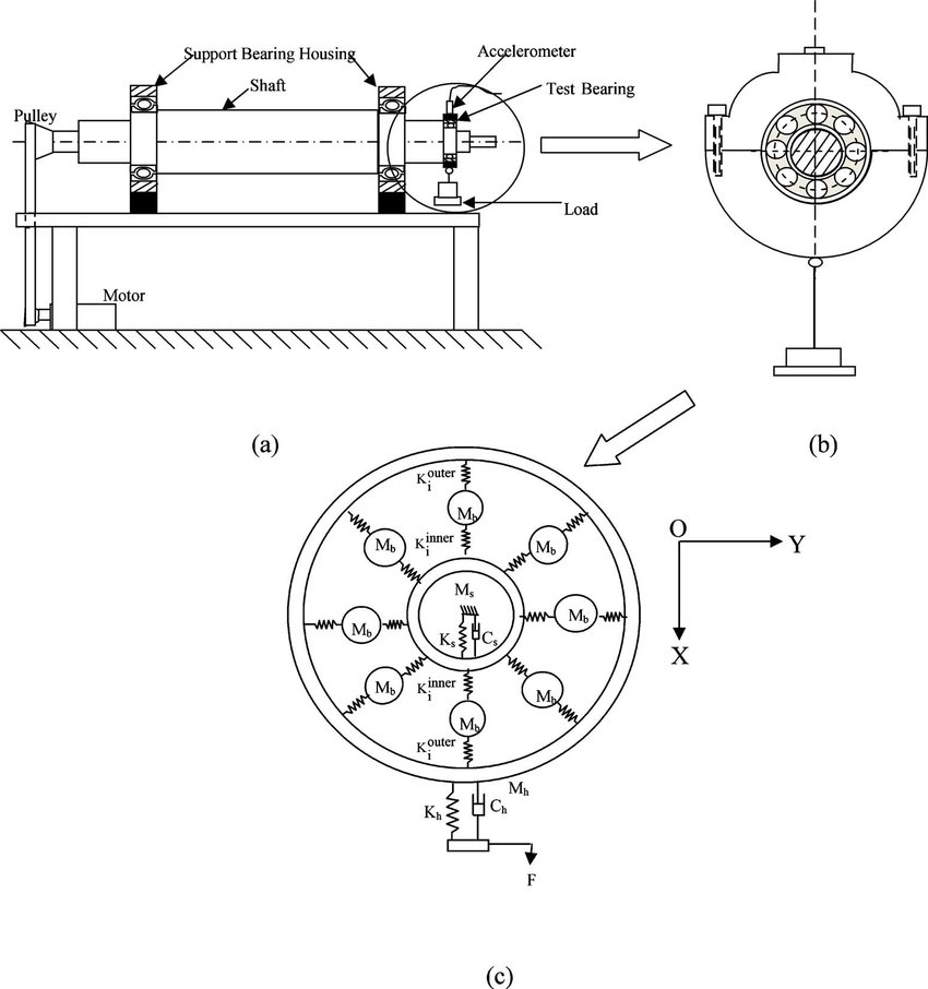 Schematic diagram of shaft bearing system under study with