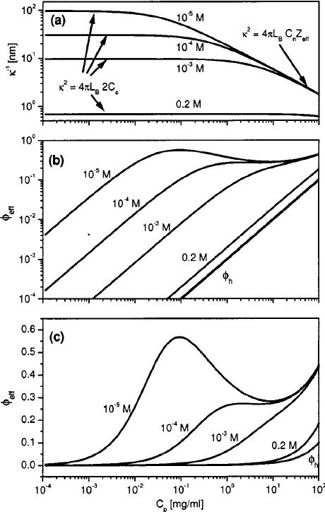 ͑ a ͒ The Debye screening length vs polyion concentration
