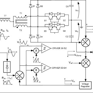 Boost converter diagram with parasitic elements