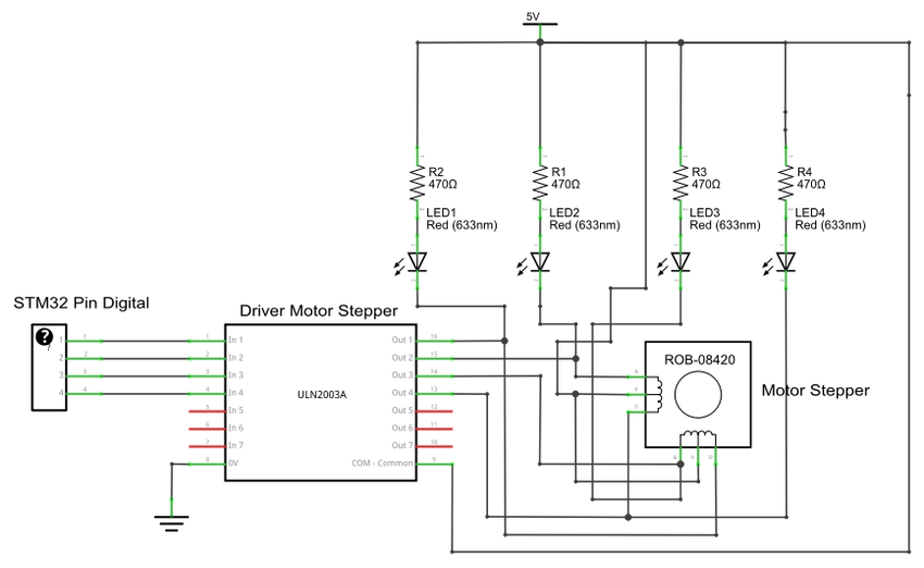 Electronic circuit schematic of stepper motor driver (CW