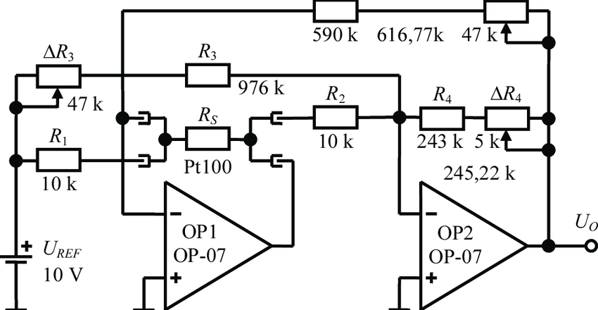 Pt100 compensation circuit with additional potentiometers