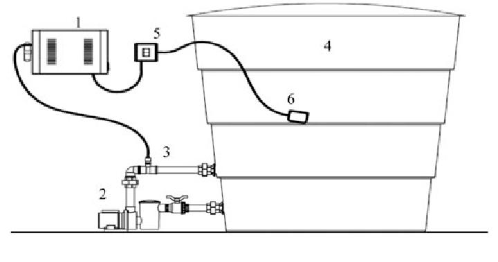 Ozonation system: (1) Ozone generators; (2) Recirculating