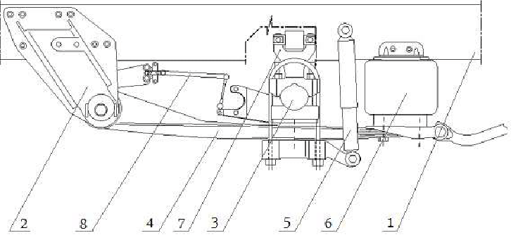 Diagram of a rear air suspension Hendrickson with two