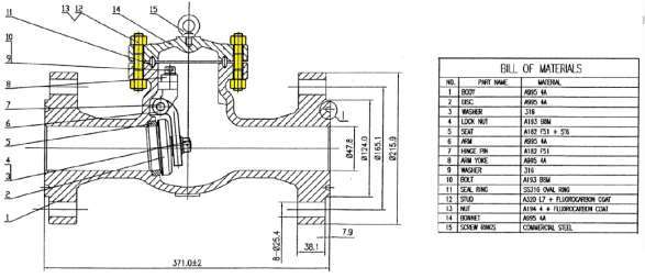 Assembly drawing of choke valve. The stud bolt was marked