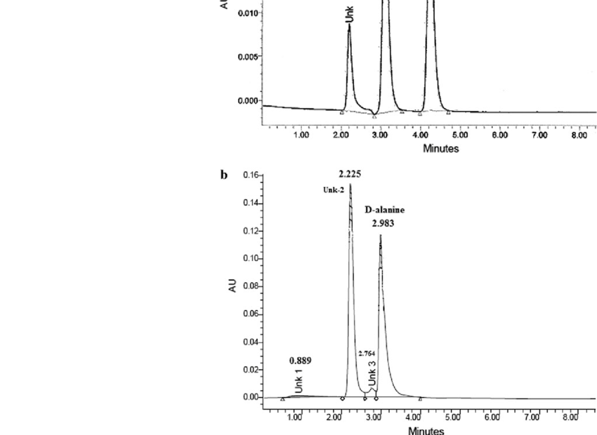 a HPLC separation of standard DL-alanine (50 mM in HPLC