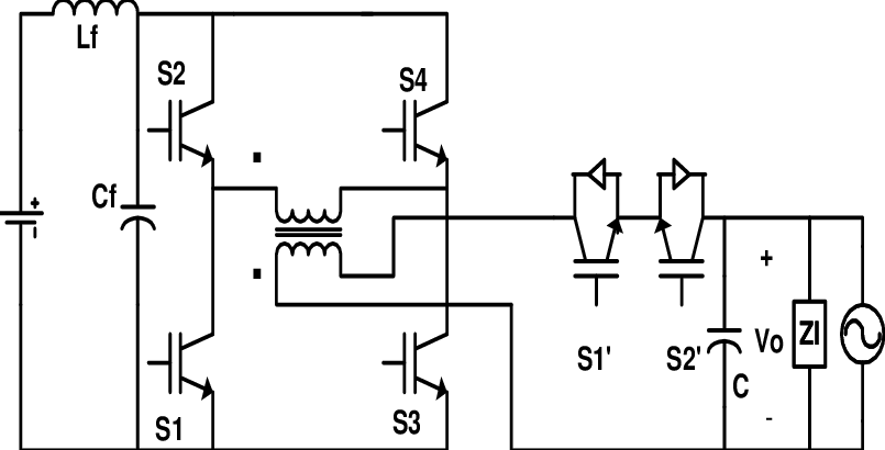 Six-switch isolated buck-boost inverter (isolated) by