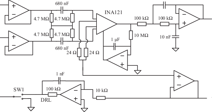 Custom-made ECG amplifier to analyze the effect of the DRL