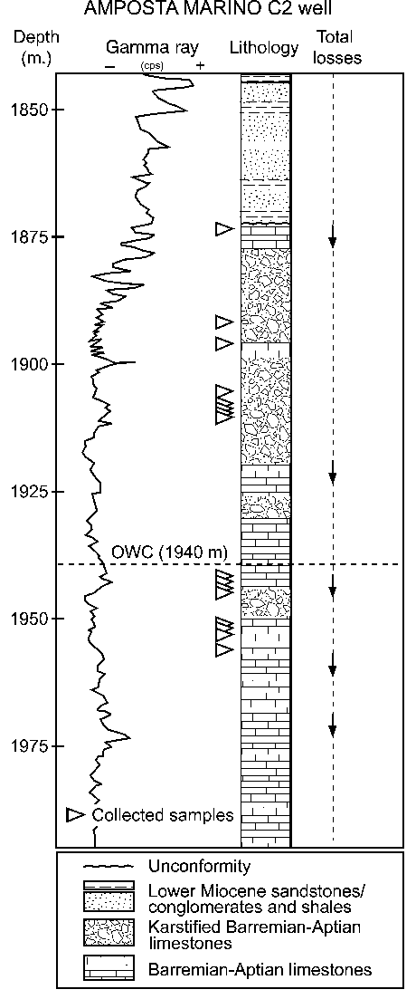 Schematic section of the Amposta Marino C2 well showing