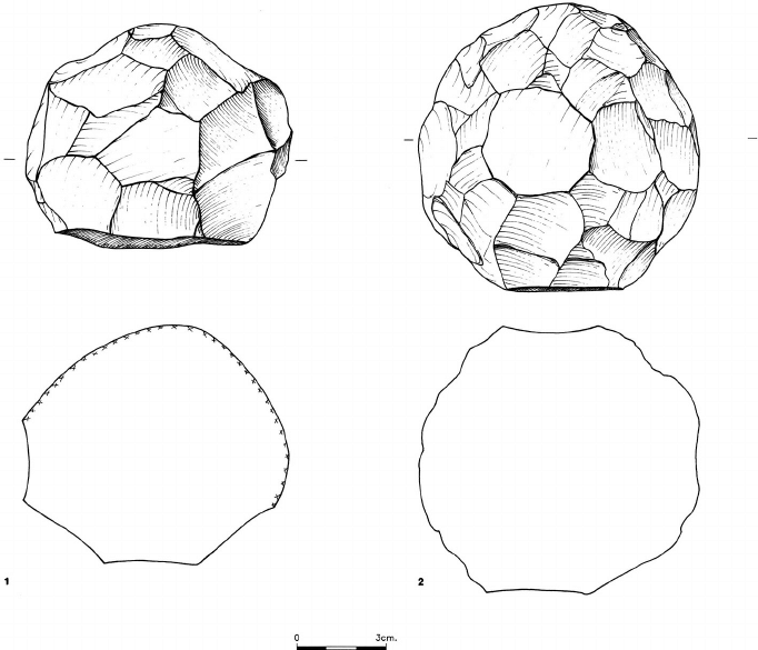 Line drawing of two stone balls from Qesem cave (No. 1 is