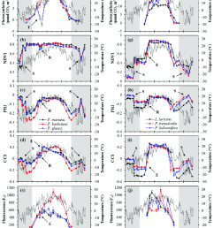 annual patterns of midday average temperature grey line optical indices and photosynthetic metrics for evergreen and deciduous species  [ 850 x 1049 Pixel ]
