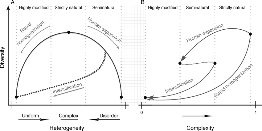 The anthropocline complexity–biodiversity framework. (A