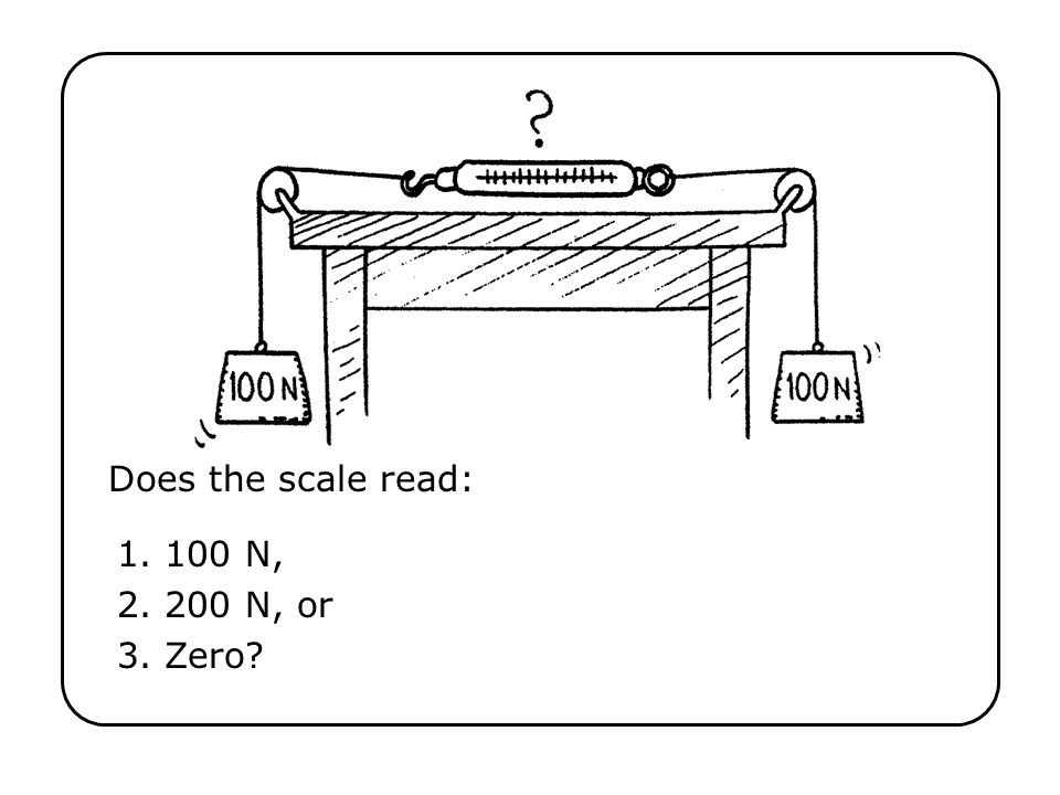 Does the scale read: 100 N, 200 N, or Zero? why?