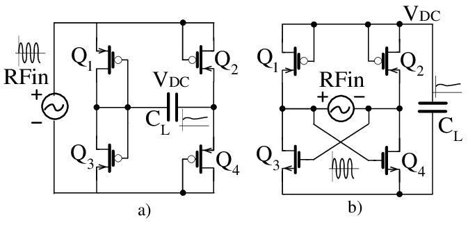 (a) Full-wave rectifier using four diode-connected PMOS