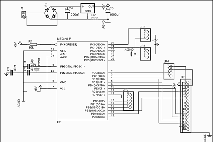 Schematics circuit diagram of wireless sensor network of