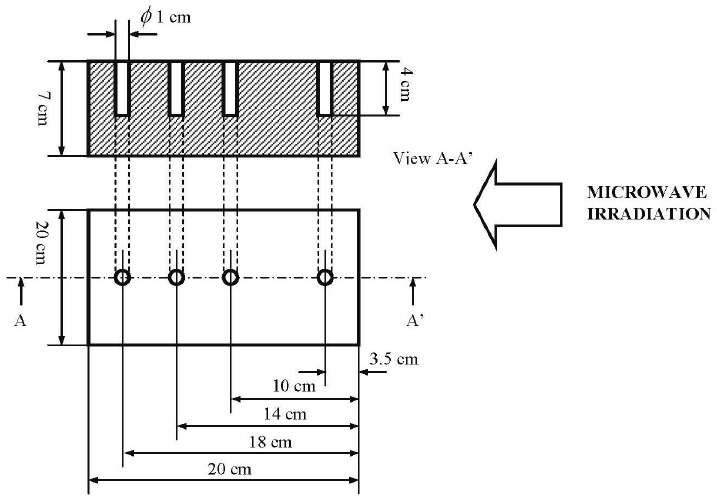 Drawing of the perforated wooden block used in the