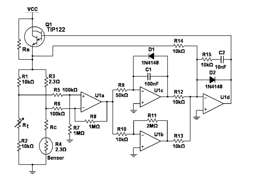 Schematic diagram of the anemometer electronics. A three