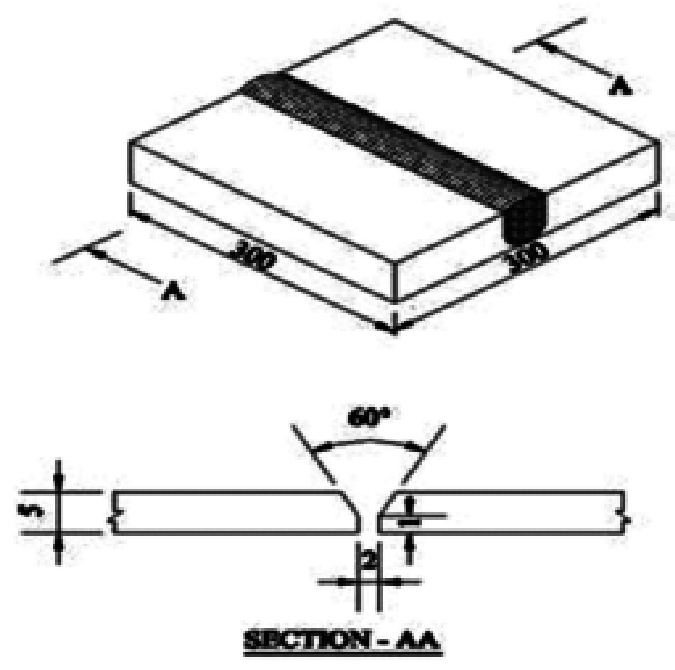 Schematic Sketch of the Weld Joint (All Dimensions are in