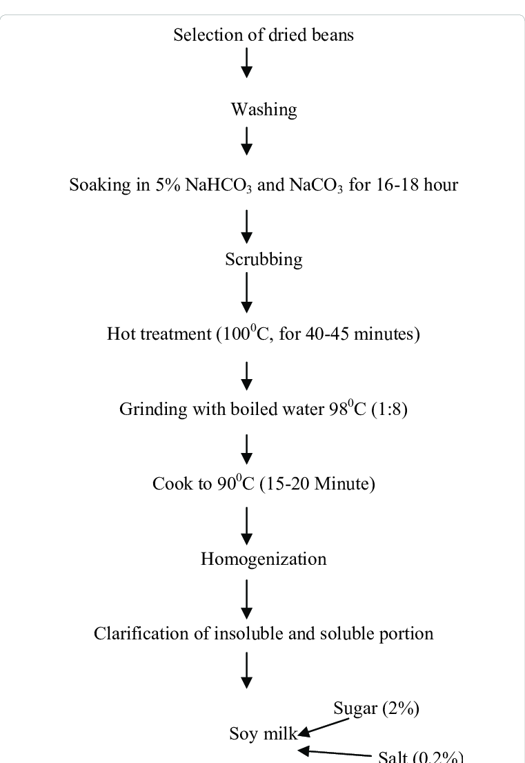 hight resolution of process flow chart for production of soy milk