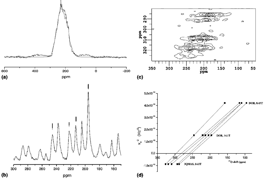 (a) 14.1 T 17 O MAS NMR spectrum of L L-MSG together with