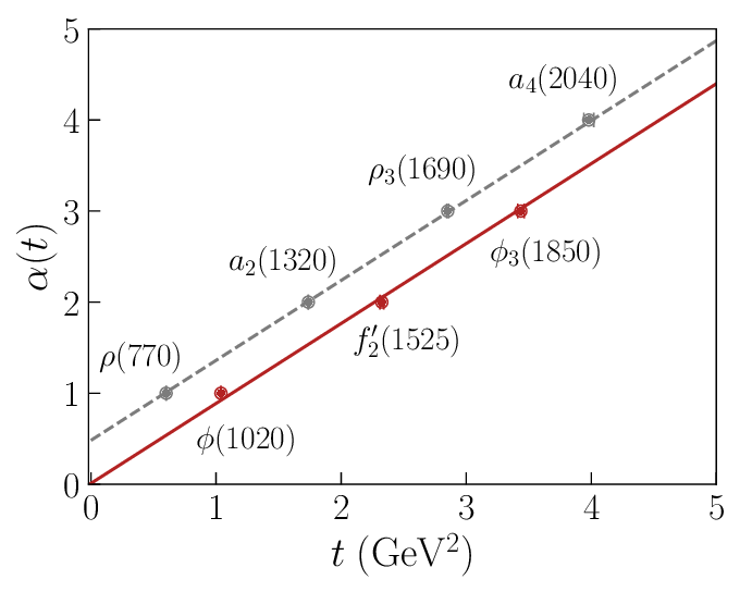 Chew-Frautschi plot for the leading ρ (gray dashed) and φ