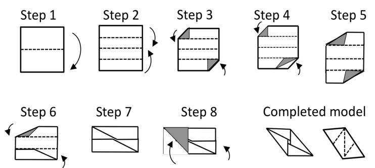 A Sonobe unit created by Mitsunobu Sonobe (Simon, Arnstein