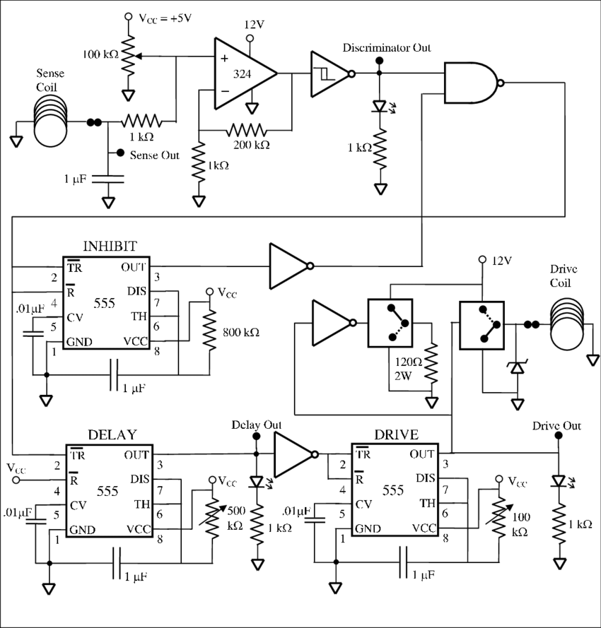 Circuit diagram of the pendulum driver. The op-amp (LM324
