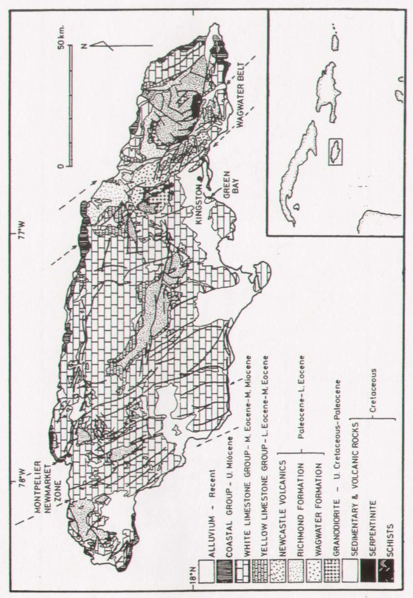 Map of Jamaican geologic units. Note the location of