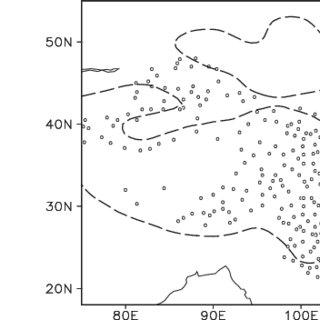 a The 850-mb geopotential height (the solid line; unit