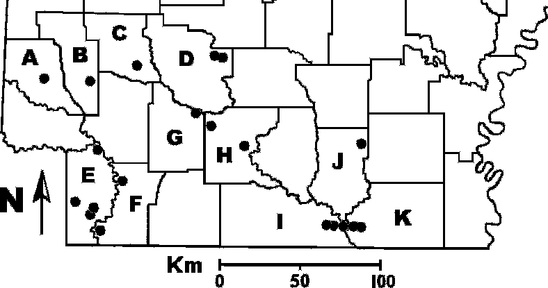 Observed distribution of nesting cliff swallows