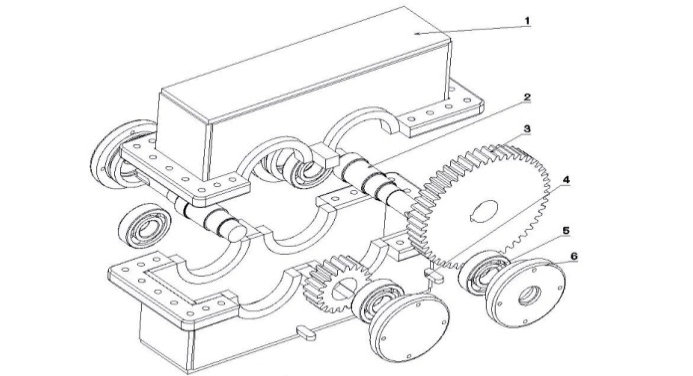 Exploded view drawing of gearbox: (1) Case, (2) Shaft, (3
