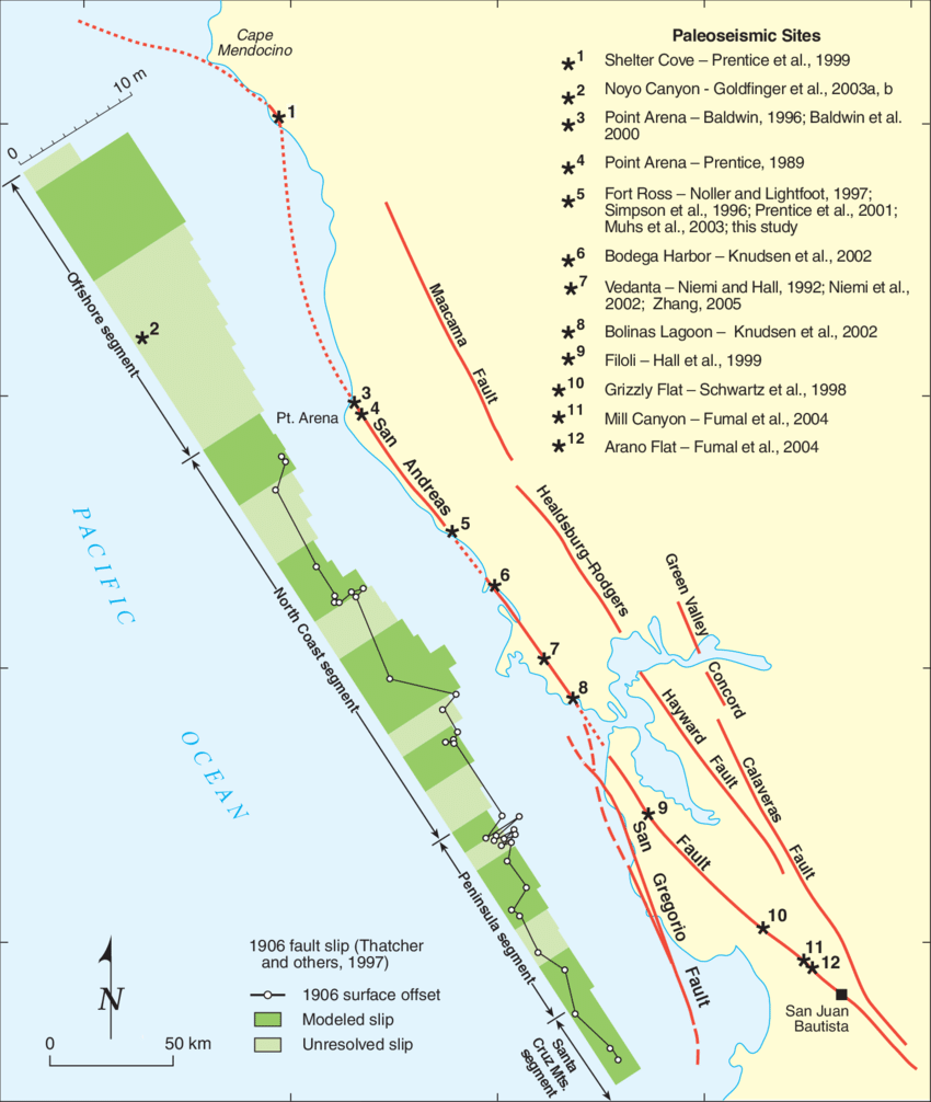 hight resolution of regional map of major faults in northwestern california showing san andreas fault segments from wgcep