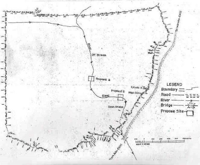 A sketch of Ekiti State University land indicating the