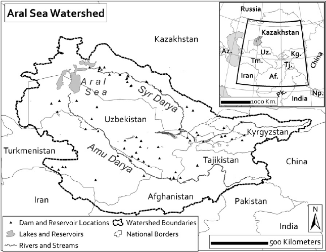 Location map: The location and extent of the Aral Sea