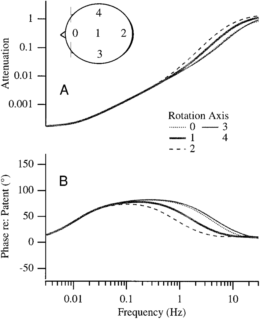 hight resolution of sensitivity to eccentricity of rotation the cupular attenuation a and phase shift