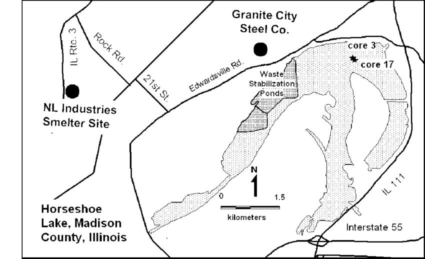 Horseshoe Lake, Madison County, Illinois, showing the