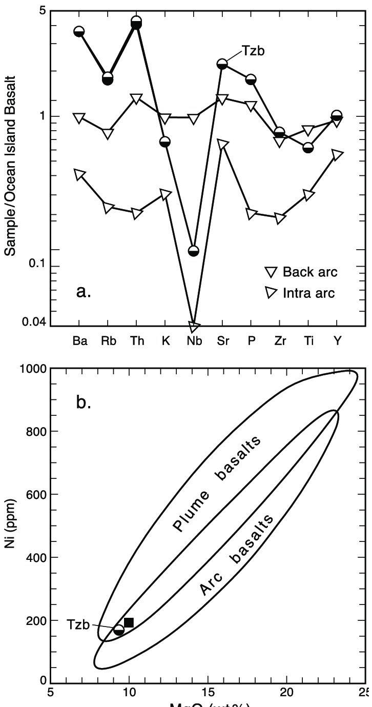 hight resolution of trace element and minor element variation diagram for the trachybasalt unit tzb
