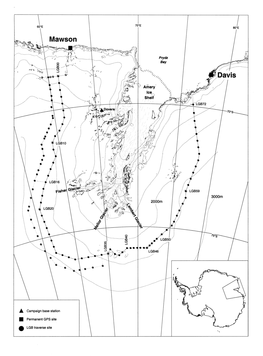 hight resolution of the lambert glacier basin showing major glaciological features fixed gps sites and the lgb