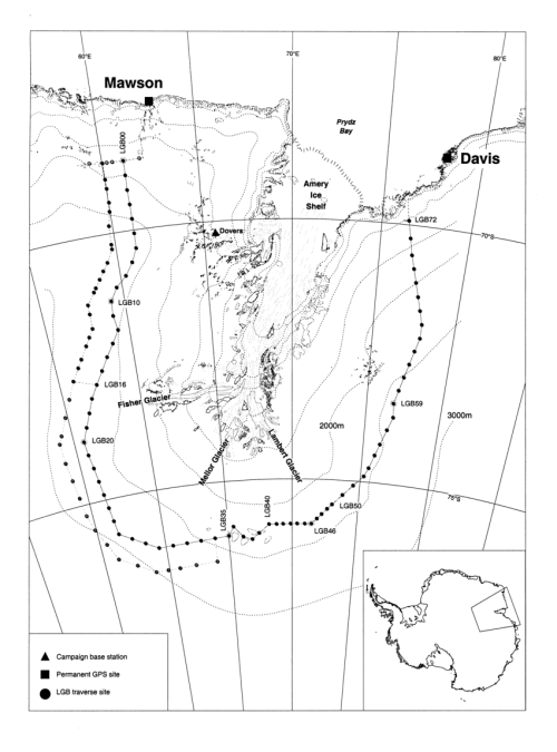 small resolution of the lambert glacier basin showing major glaciological features fixed gps sites and the lgb