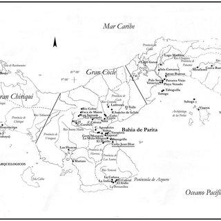 Mapa arqueológico de Panamá. División de las tres regiones