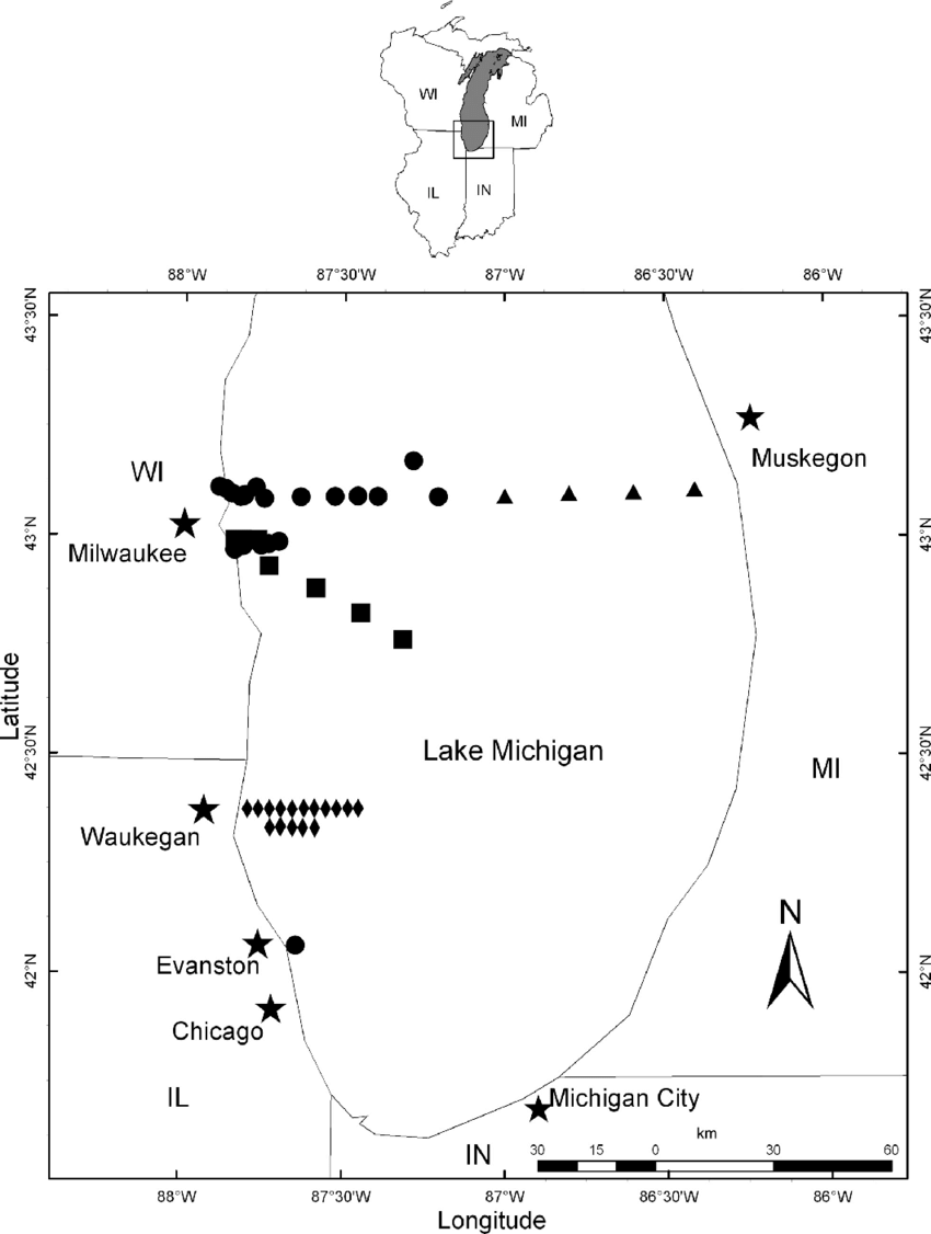 hight resolution of map of southern lake michigan showing sampling locations for early life stages of yellow perch