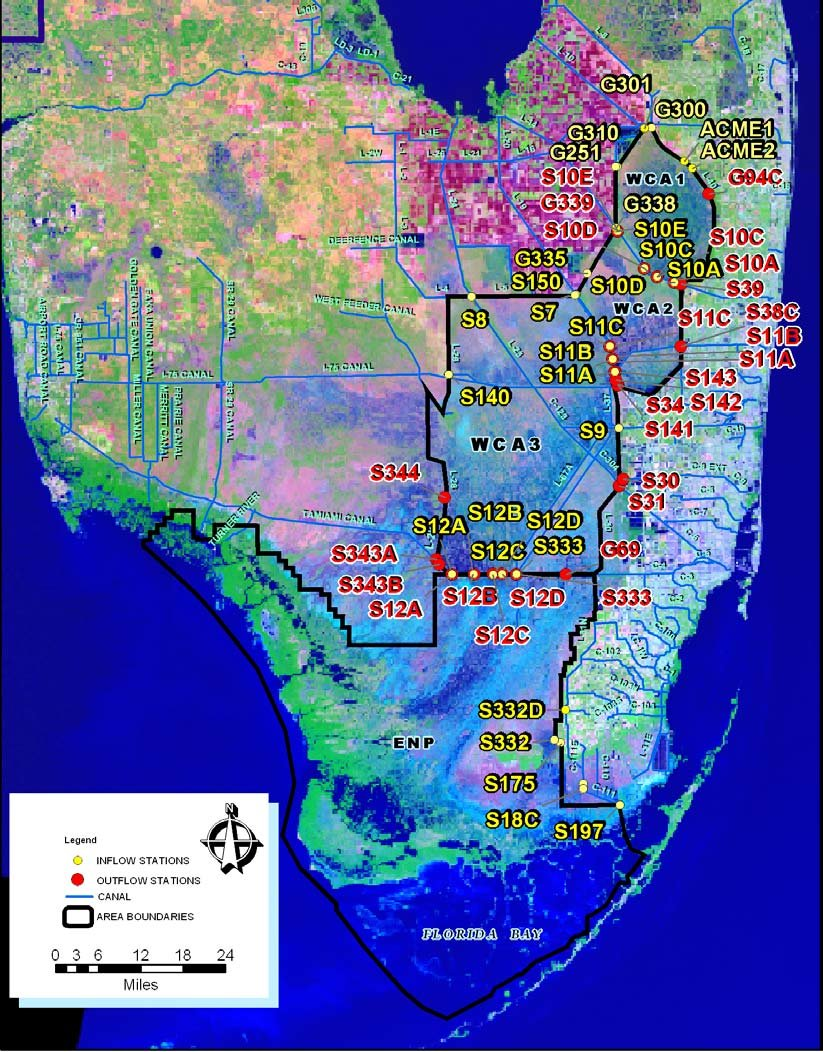 hight resolution of everglades protection area epa with flow stations used to compute inflows and outflows