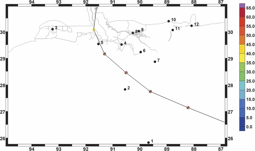 Detail for Hurricane Andrew track data across the northern