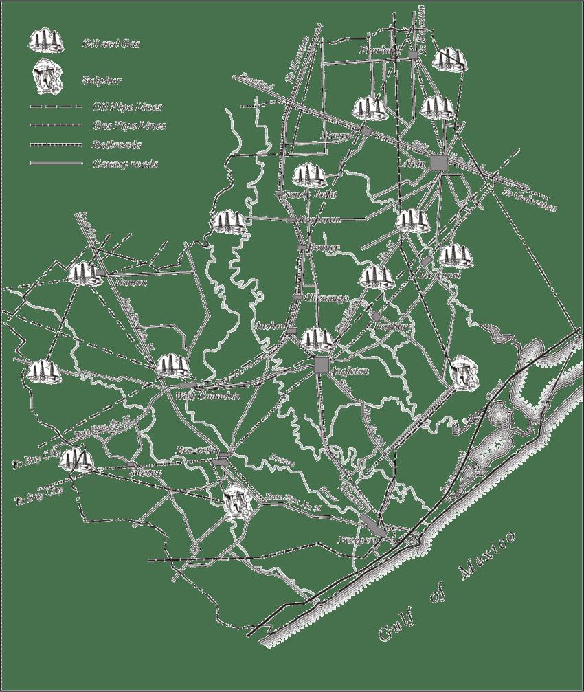 Oil, gas, and sulfur deposits in Brazoria County, circa